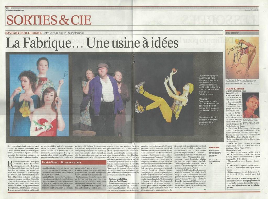 ARTICLE Page centrale Samedi et Cie du 17 mai 2013