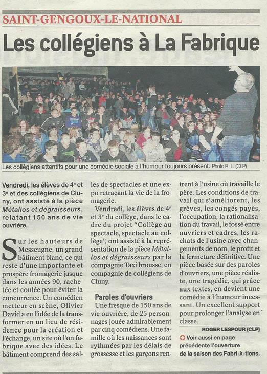 Articles de Presse Journal de Saône et Loire du 28 mai 2013 Saint Gengoux le National