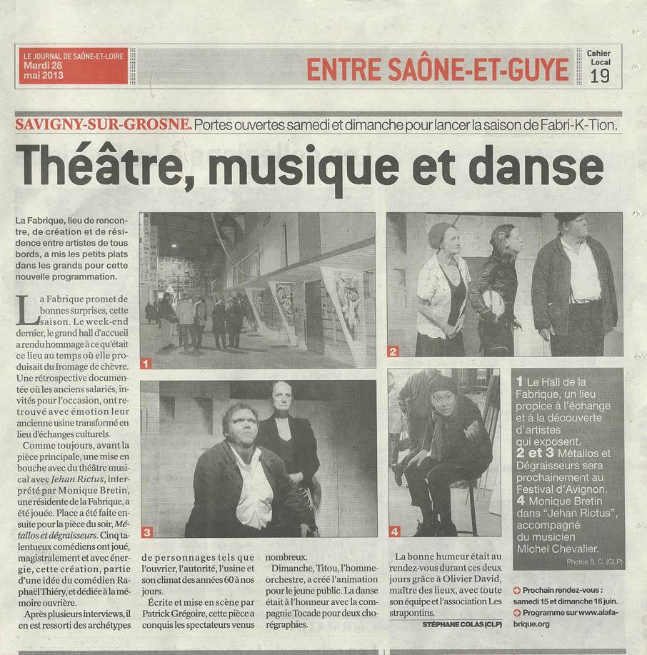 Articles de Presse Journal de Saône et Loire du 28 mai 2013